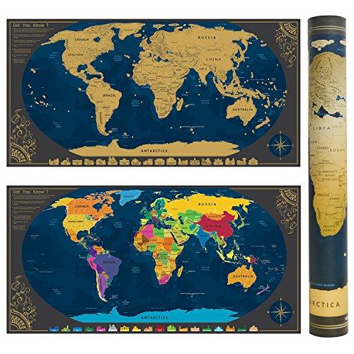 Enmarcado Mapa mural para rascar del Mundo marco de plata mapa detallado con banderas